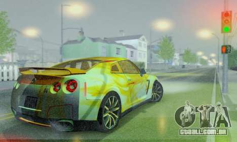 Nissan GTR Heavy Fire para GTA San Andreas vista interior