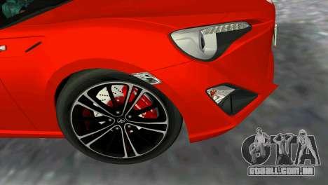 Toyota GT86 para GTA Vice City vista traseira esquerda