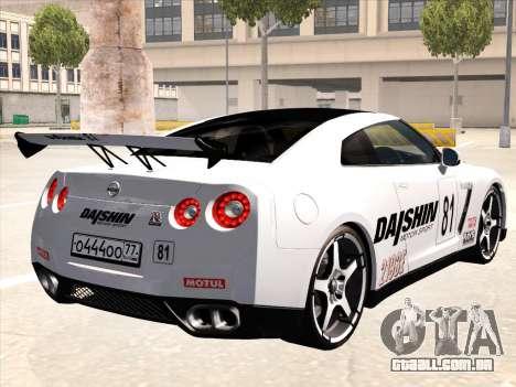 Nissan GTR-R35 Spec-V para GTA San Andreas vista inferior