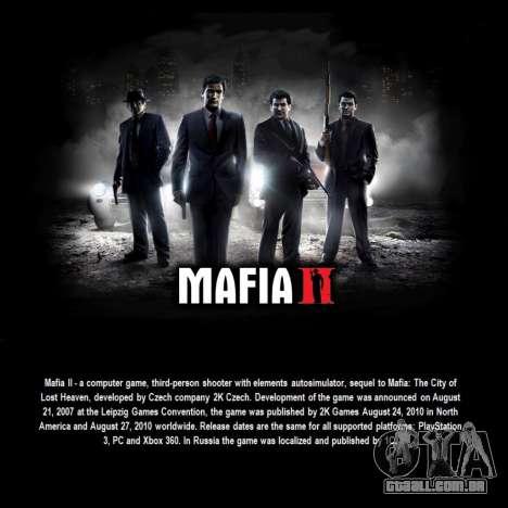 Tela de inicialização do Mafia II para GTA San Andreas