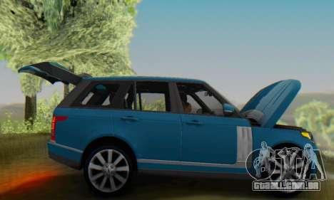 Range Rover Vogue 2014 V1.0 Interior Nero para GTA San Andreas vista traseira