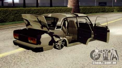 VAZ 2107 em camuflagem para GTA San Andreas traseira esquerda vista