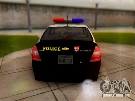 Chevrolet Aveo Police para GTA San Andreas vista direita