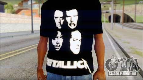 Metallica T-Shirt para GTA San Andreas terceira tela