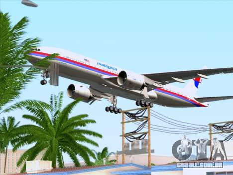 Boeing 777-2H6ER Malaysia Airlines para GTA San Andreas vista inferior