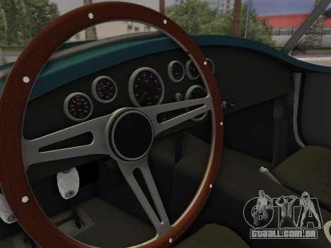 Shelby Cobra para GTA Vice City vista traseira esquerda