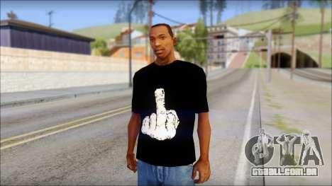 Black T-Shirt wBlack T-Shirt with middle finger para GTA San Andreas