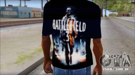 Battlefield 3 Fan Shirt para GTA San Andreas terceira tela