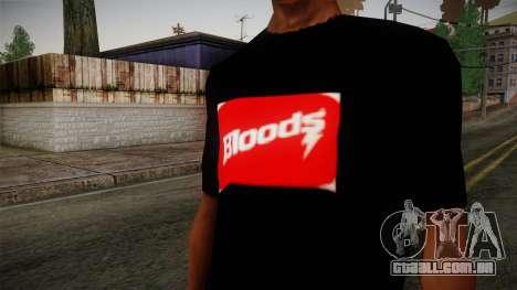 Bloods T-Shirt para GTA San Andreas terceira tela