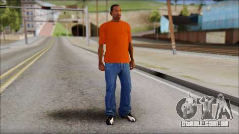 Fred Perry T-Shirt Orange para GTA San Andreas terceira tela