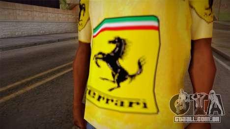Ferrari T-Shirt para GTA San Andreas terceira tela