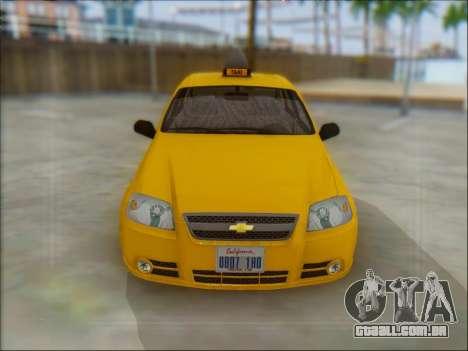 Chevrolet Aveo Taxi para GTA San Andreas traseira esquerda vista
