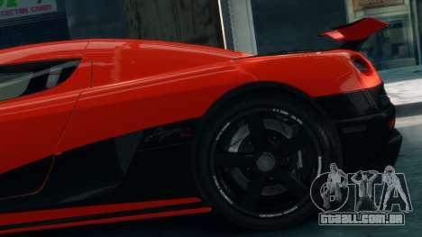 Koenigsegg Agera R 2013 para GTA 4 vista direita