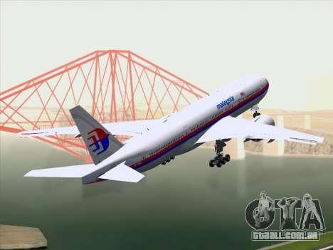Boeing 777-2H6ER Malaysia Airlines para GTA San Andreas vista traseira
