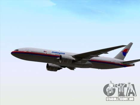 Boeing 777-2H6ER Malaysia Airlines para GTA San Andreas vista interior
