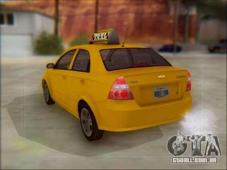 Chevrolet Aveo Taxi para GTA San Andreas vista traseira