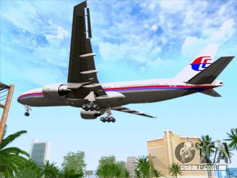 Boeing 777-2H6ER Malaysia Airlines para GTA San Andreas vista superior