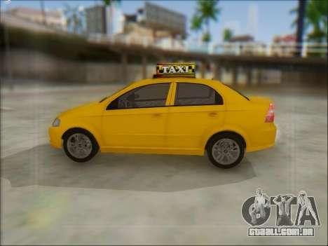 Chevrolet Aveo Taxi para GTA San Andreas vista direita