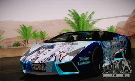 Lamborghini Reventon Black Heart Edition para GTA San Andreas traseira esquerda vista