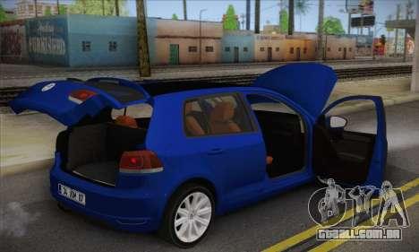 Volkswagen Golf Mk6 2010 para GTA San Andreas vista traseira