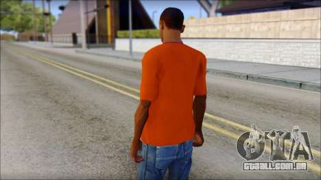 Fred Perry T-Shirt Orange para GTA San Andreas segunda tela