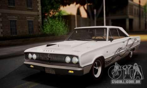 Dodge Coronet 440 Hardtop Coupe (WH23) 1967 para GTA San Andreas vista inferior