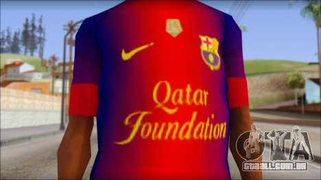 Barcelona Messi T-Shirt para GTA San Andreas terceira tela