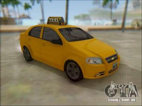 Chevrolet Aveo Taxi para GTA San Andreas esquerda vista