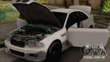 BMW M3 E46 Black Edition para GTA San Andreas traseira esquerda vista