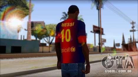 Barcelona Messi T-Shirt para GTA San Andreas segunda tela