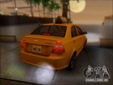 Chevrolet Aveo Taxi para GTA San Andreas vista superior