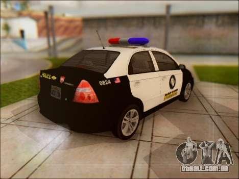 Chevrolet Aveo Police para GTA San Andreas vista traseira