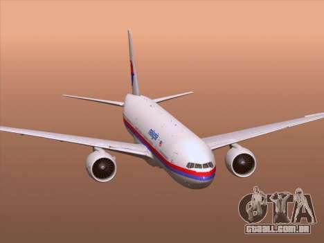 Boeing 777-2H6ER Malaysia Airlines para as rodas de GTA San Andreas