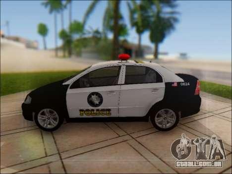 Chevrolet Aveo Police para GTA San Andreas esquerda vista