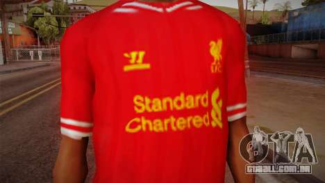 Liverpool FC 13-14 Kit T-Shirt para GTA San Andreas terceira tela
