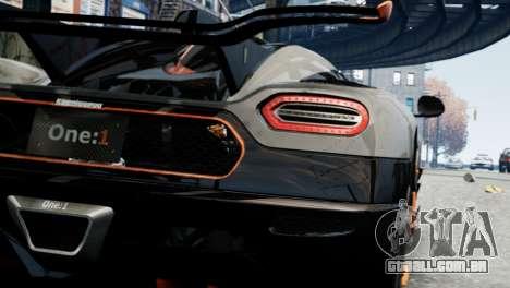 Koenigsegg One v2.0 para GTA 4 vista direita