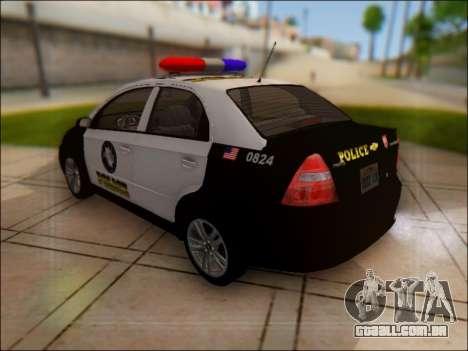 Chevrolet Aveo Police para GTA San Andreas traseira esquerda vista