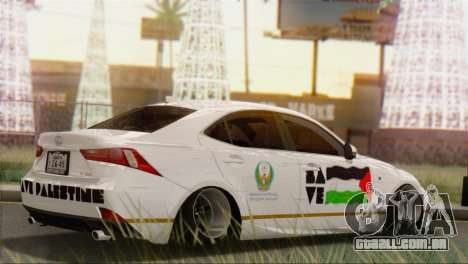 Lexus IS350 FSport 2014 Hellaflush para GTA San Andreas traseira esquerda vista