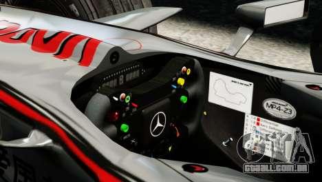 McLaren MP4-23 F1 Driving Style Anim para GTA 4 traseira esquerda vista