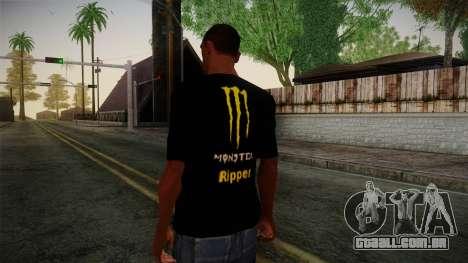 Monster Ripper Shirt Black para GTA San Andreas segunda tela