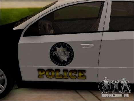 Chevrolet Aveo Police para GTA San Andreas vista inferior