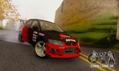 Mitsubishi Lancer Turkis Drift Advan para GTA San Andreas esquerda vista