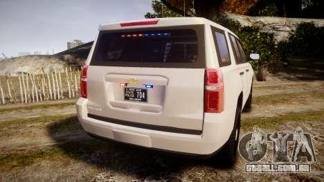 Chevrolet Tahoe 2015 PPV Slicktop [ELS] para GTA 4 traseira esquerda vista
