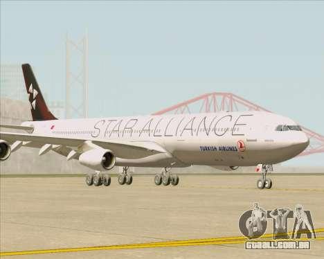 Airbus A340-311 Turkish Airlines (Star Alliance) para GTA San Andreas esquerda vista