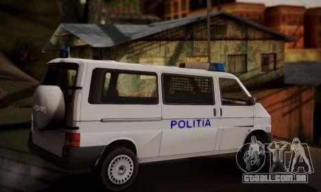 Volkswagen Caravelle Politia para GTA San Andreas esquerda vista