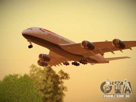 Airbus A380-800 British Airways para GTA San Andreas vista direita