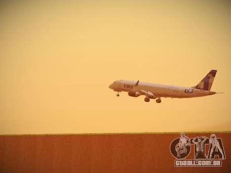 Embraer E190 TRIP Linhas Aereas Brasileira para GTA San Andreas vista traseira