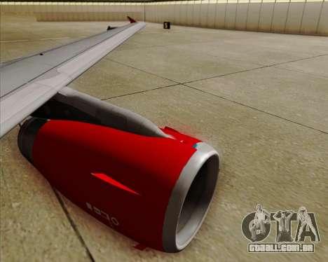 Airbus A319 Air Canada Rouge para GTA San Andreas vista inferior