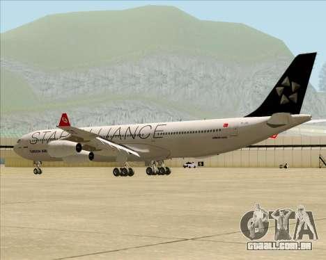 Airbus A340-311 Turkish Airlines (Star Alliance) para GTA San Andreas traseira esquerda vista