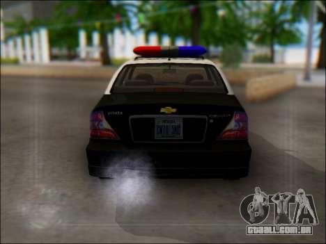 Chevrolet Evanda Police para GTA San Andreas vista direita
